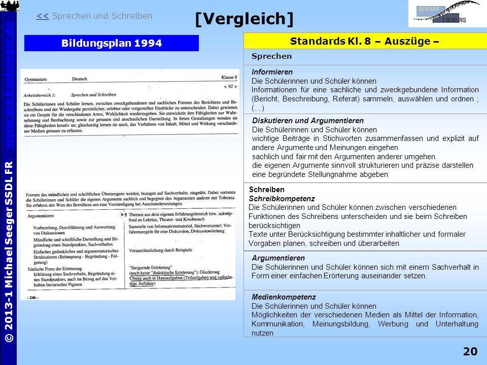 [Vergleich] Standards Kl. 8 – Auszüge – Bildungsplan 1994